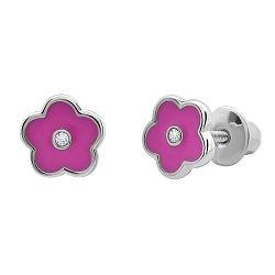 Серебряные серьги-пуссеты Цветочек с розовой эмалью,7х7 мм
