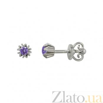 Серебряные серьги-пуссеты Ханни с фиолетовым цирконием 000081815