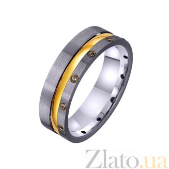 Золотое обручальное кольцо Эффектный стиль с фианитами TRF--4421370