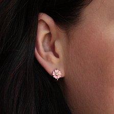 Серебряные позолоченные серьги Любимые цветочки с розовой эмалью и фианитами