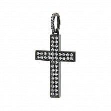 Крестик из белого золота Полетт в черном родии с бриллиантами