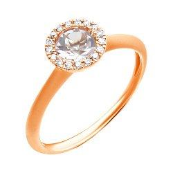 Кольцо из красного золота с розовым морганитом и бриллиантами 000139516
