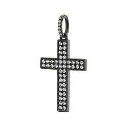 Золотой декоративный крестик в черном родии с бриллиантами 000070393