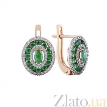 Золотые серьги Анджали с изумрудами и бриллиантами KBL--С2540/крас/изум