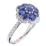 Золотое кольцо Флория с сапфирами и бриллиантами