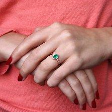 Золотое кольцо Верона с хризопразом (зеленым ониксом) и фианитами