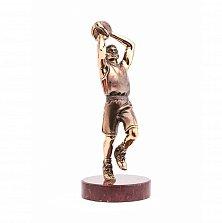 Бронзовая скульптура Баскетболист с холодной эмалью на мраморной подставке