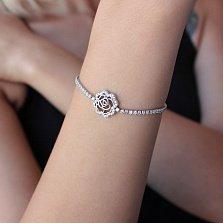 Серебряный браслет Любимый цветочек на замке-затяжке с цирконием
