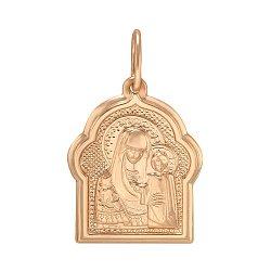 Золотая ладанка Божья Матерь Казанская в красном цвете 000063811