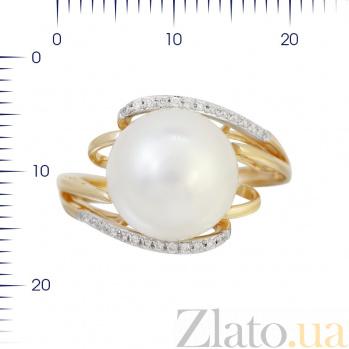 Кольцо из красного золота Симона с жемчугом и бриллиантами 000080979