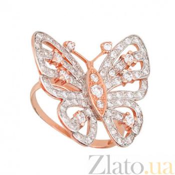 Золотое кольцо Мотылек с белоснежными фианитами VLT--Е1205