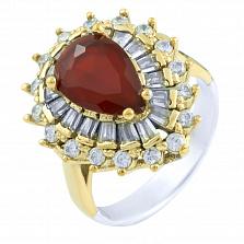Кольцо из серебра и бронзы Кристиана с рубином и фианитами