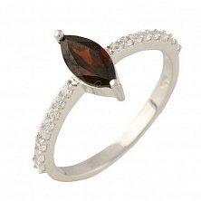Серебряное кольцо Имма с гранатом и фианитами