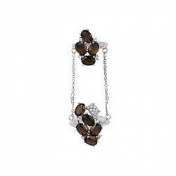Фаланговое серебряное кольцо Джолан с раухтопазом и фианитами