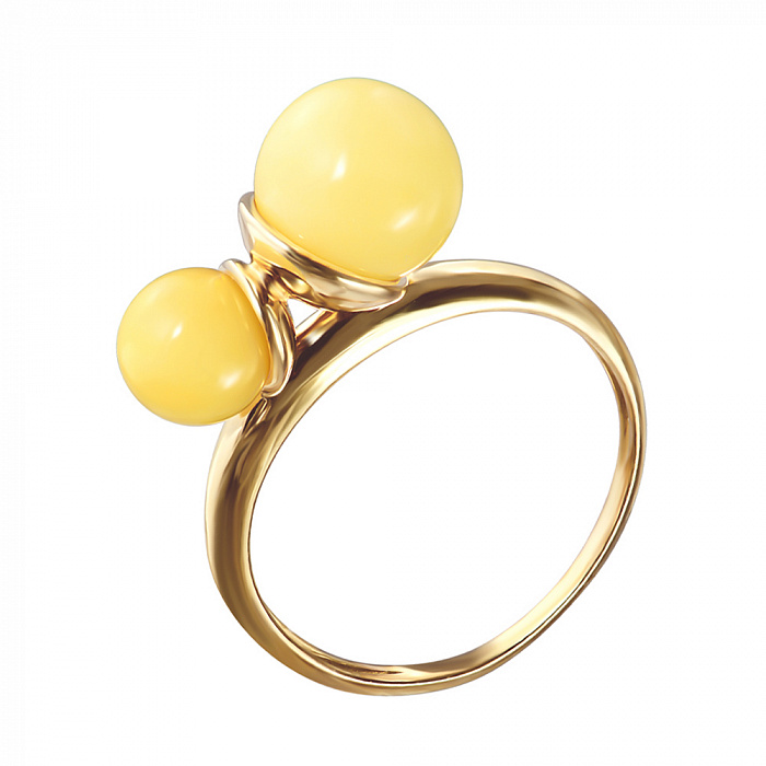 Серебряное кольцо в позолоте с двумя бусинами лимонного янтаря 000099730 000099730