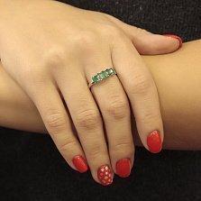 Серебряное кольцо Каролина с зеленым агатом и зеленым кварцем