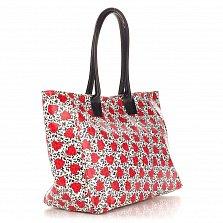 Кожаная сумка на каждый день Genuine Leather 8007 микс с рисунком-сердечками, на молнии