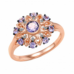 Кольцо из красного золота с бриллиантами и танзанитами Титаник
