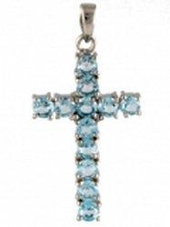 Серебряный крестик Надин с голубыми топазами
