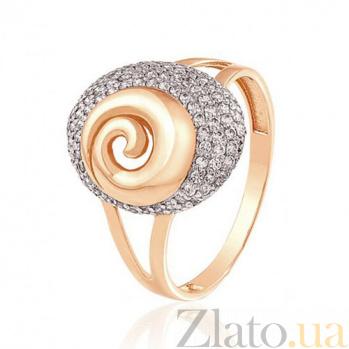 Золотое кольцо с россыпью фианитов Душа цветка EDM--КД2017