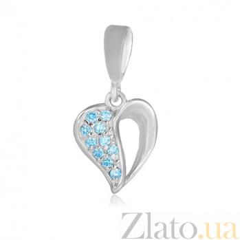 Серебряный подвес с фианитами Сердце 000028621
