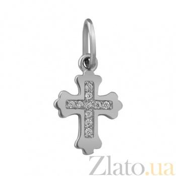 Крестик из белого золота с фианитами Сияние SVA--3100915102/Фианит/Цирконий
