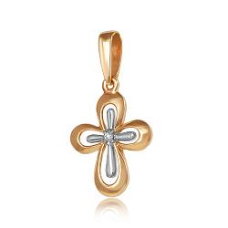 Золотой крестик с бриллиантом Соната 000017642