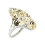 Серебряное кольцо с топазами и раухтопазами Медина