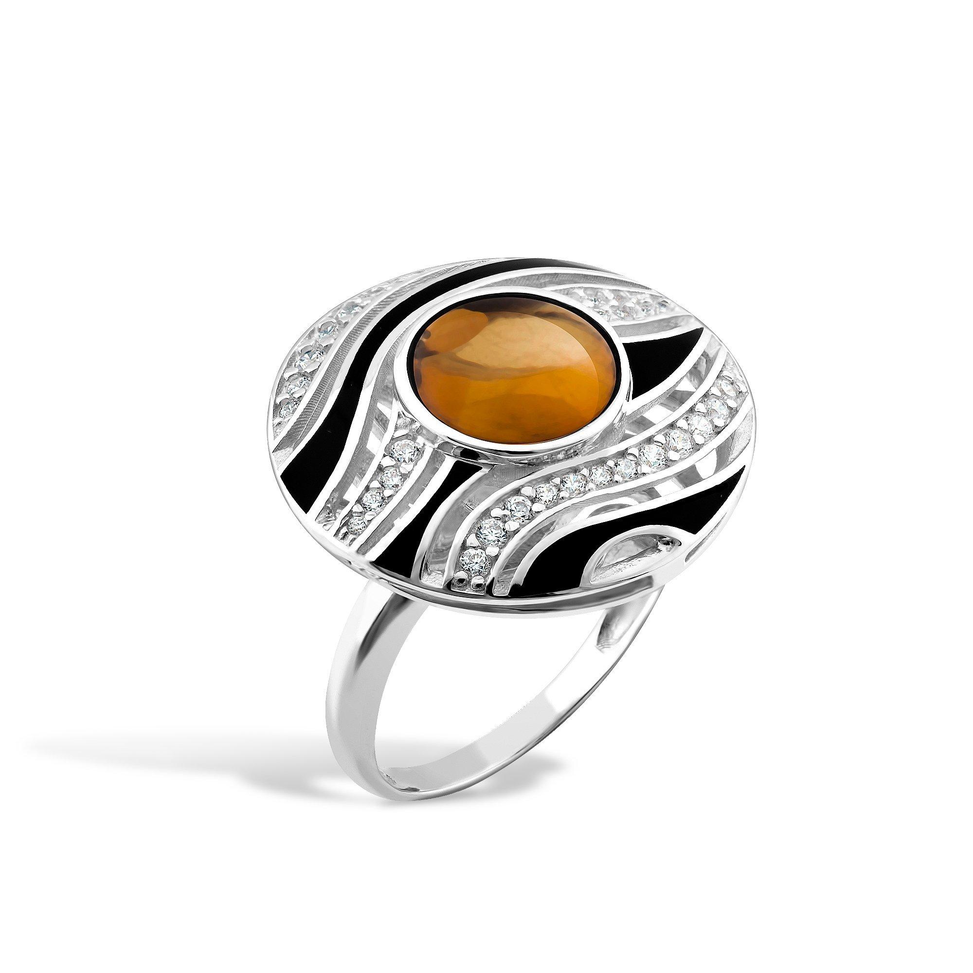 Серебряное кольцо Лейла с янтарем, фианитами и черной эмалью