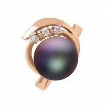 Золотое кольцо Мой космос с черной жемчужиной и белыми фианитами