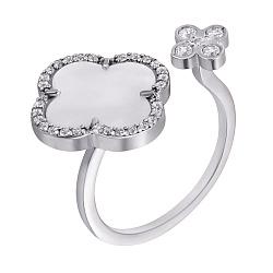 Серебряное кольцо с разомкнутой шинкой, белыми перламутром и фианитами 000101952