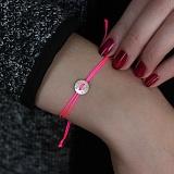 Шелковый браслет Best sister с серебряной вставкой