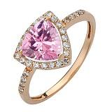 Золотое кольцо Габриэлла с розовым топазом и фианитами