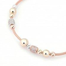 Золотой браслет для шармов Антонио с бусинами в комбинированном цвете и белыми фианитами
