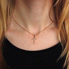 Крестик в красном золоте Гармония с бриллиантом