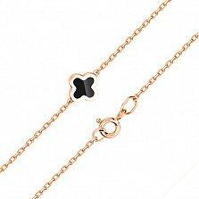 Золотой браслет Марджи с цветочком и черным агатом