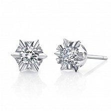 Серьги-пуссеты Маленькая звезда в белом золоте с бриллиантами, 0,3ct