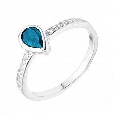 Серебряное кольцо с лондон топазом и фианитами 000133656