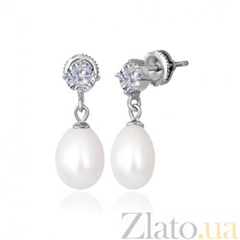 Сережки из серебра с жемчугом и фианитами Агния SLX--С2ФЖ/827