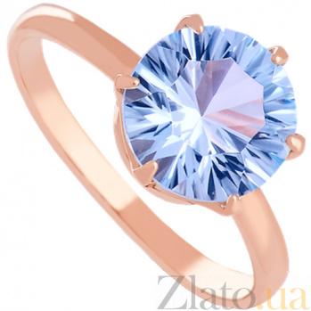 Золотое кольцо с голубым топазом Корнелиа 000029220
