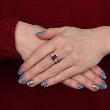 Серебряное кольцо Адалин с нанорубином и фианитами