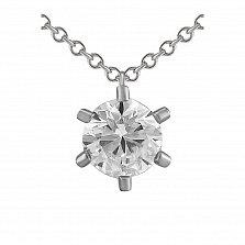 Кулон из белого золота Сияющая снежинка с бриллиантом