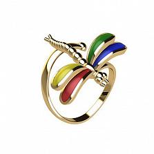 Золотое кольцо с цветной эмалью Стрекоза