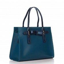 Кожаная деловая сумка Genuine Leather 8860 синего цвета с декоративным бантиком, на молнии