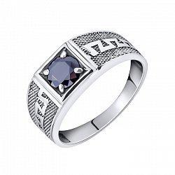 Серебряный перстень-печатка Меандр с фактурной шинкой и черным фианитом