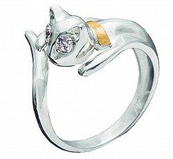 Серебряное кольцо Кошечка с золотой накладкой и фианитами