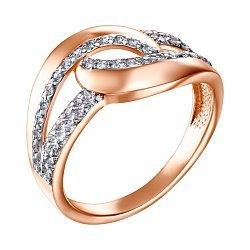 Золотое кольцо в комбинированном цвете с фианитами 000126235