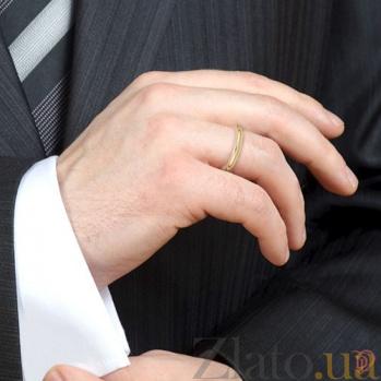 Мужское обручальное кольцо из желтого золота Мой милый ангел: Безграничная Любовь 4124