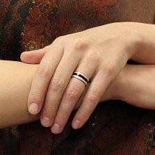 Серебряное обручальное кольцо Молочная река с фианитами и эмалью