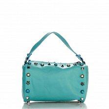 Кожаный клатч Genuine Leather 1519 зеленого цвета с короткой ручкой и декоративными элементами